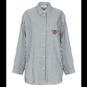 NWT Maje green white striped long sleeve blouse